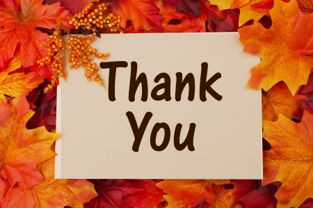 thankful: Thank You card with fall leaves, thankful at Thanksgiving Stock Photo