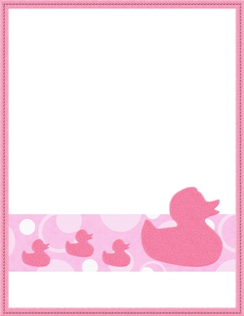 baby scrapbook: Pink and White Baby Frame for your message or invitation with copy-space in the middle Stock Photo