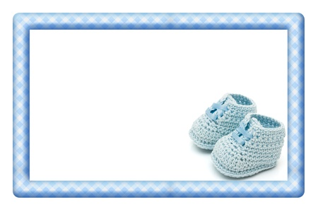 booties: Blue and White Baby Frame for your message or invitation with copy-space in the middle Stock Photo