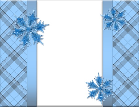 Blue and White Snowflake Frame for your message or invitation with copy-space in the middle Stock Photo - 15912659