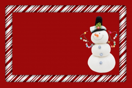 candy border: Candy Cane with Snowman Frame for your message or invitation with copy-space in the middle