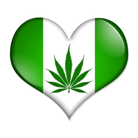 medical herbs: A green heart-shaped button with marijuana leaf isolated on a white background, Love marijuana button Stock Photo