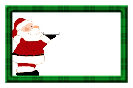 Christmas Frame with Santa for your message or invitation with copy-space in the middle photo