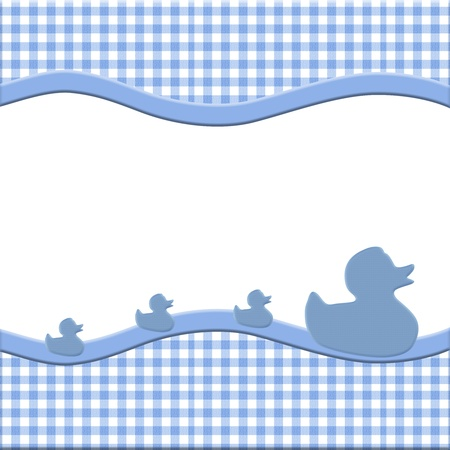 stripe: Blue and White Baby Frame with Ducks for your message or invitation with copy-space in the middle Stock Photo
