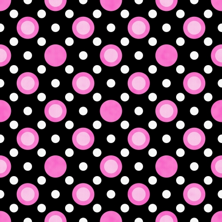 round: Pink, White and Black Polka Dot Fabric with texture Background that is seamless and repeats