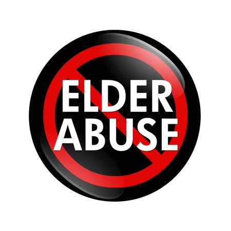 A black and red  button with words Elder Abuse isolated on a white background, No Elder Abuse button