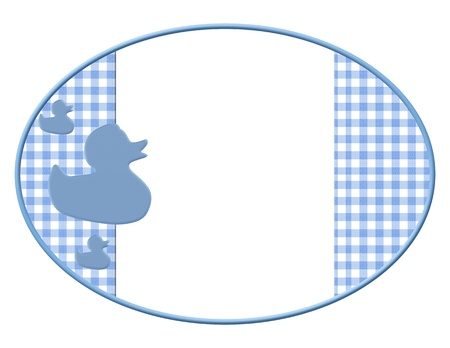 gingham: Blue and White Baby Frame with Ducks for your message or invitation with copy-space in the middle Stock Photo