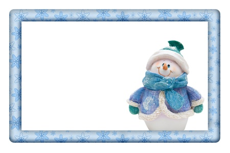 Snowflakes with Snowman Frame for your message or invitation with copy-space in the middle Stock Photo - 16417175