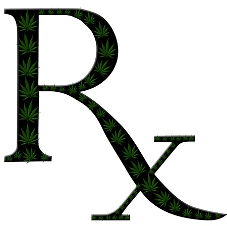 A Green Prescription Shaped Symbol Made From Marijuana Leaves