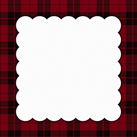 Red and Black Square Plaid Frame for your message or invitation with copy-space in the middle Reklamní fotografie - 16464960
