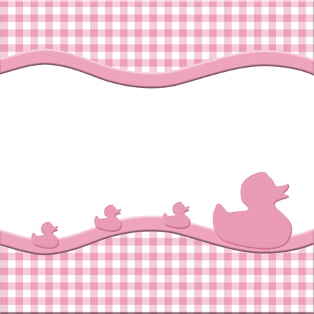 stripe: Pink and White Baby Frame with Ducks for your message or invitation with copy-space in the middle Stock Photo