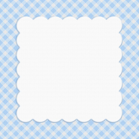 checker: Blue checkered celebration frame for your message or invitation with copy-space in the middle Stock Photo