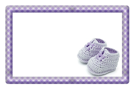 Purple and White Baby Frame for your message or invitation with copy-space in the middle photo