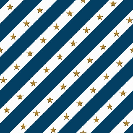 Blue and White Striped Fabric Background with Gold Stars that is seamless and repeats photo