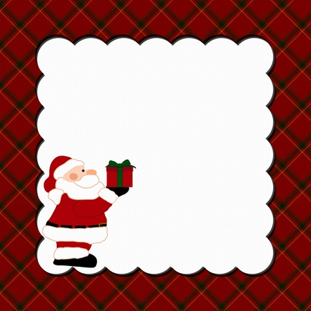 Christmas Plaid Background with Santa for your message or invitation with copy-space  photo