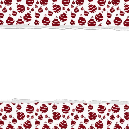 Christmas Red Ornaments Background for your message or invitation with copy-space in the middle photo