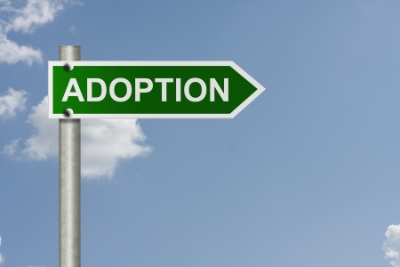 adopting: An American road sign with a sky background and word Adoption,  Adopting this way Stock Photo