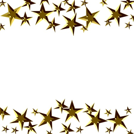 backdrop: A bunch of  golden stars isolated on a white background, winning frame Stock Photo