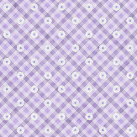 Purple Gingham with Flowers Fabric Background that is seamless and repeats photo