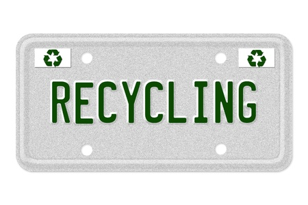 The word Recycling on a gray license plate with recycle symbol isolated on white, Recycling Car  License Plate photo