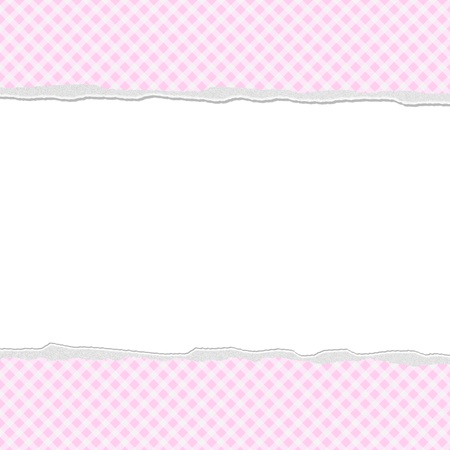 Pink Gingham Torn  Background for your message or invitation with copy-space in the middle photo