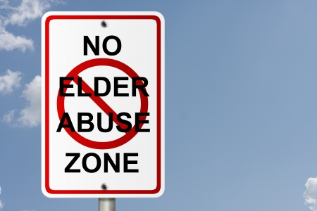 An American road sign with sky background and copy space for your message, No Elder Abuse Zone photo
