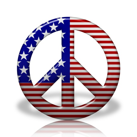 peace flag: A Peace Sign Symbol in 3D flag colors of USA,  Peace in the United States Stock Photo