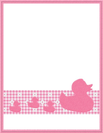 Pink Gingham Baby Frame with Ducks for your message or invitation with copy-space in the middle photo