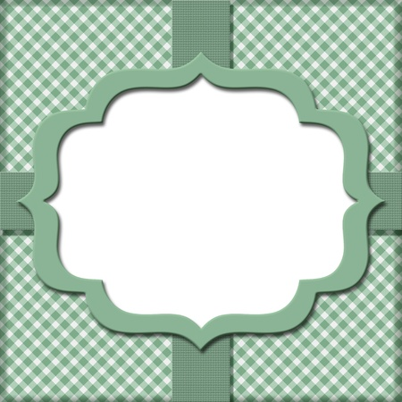 Green Gingham with Ribbon Background for your message or invitation with copy-space in the middle Stock Photo - 17334809
