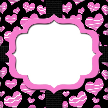 Retro Pink and Black Heart-shaped with Ribbon Background for your message or invitation with copy-space in the middle photo