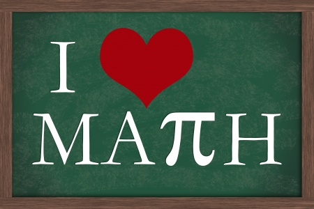I Love Math Chalkboard, A chalkboard with words I love Math with pi symbol Stock fotó