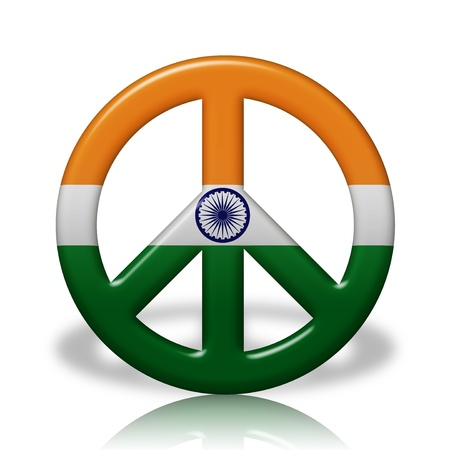 peace flag: A Peace Sign Symbol in 3D flag colors of India,  Peace in India