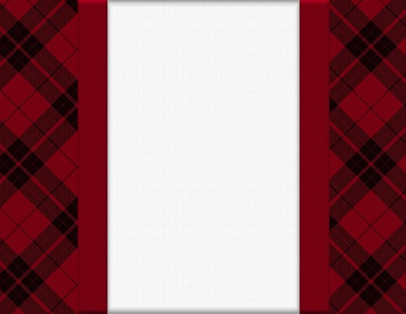 Red and Black Plaid Frame for your message or invitation with copy-space in the middle Stock Photo - 17565684
