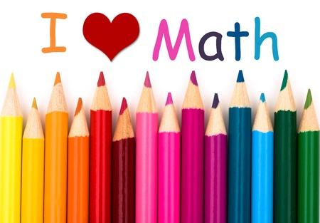 simbolos matematicos: Amo matemáticas, un borde creyón del lápiz aislados en fondo blanco con las palabras ¡Amo matemáticas Foto de archivo