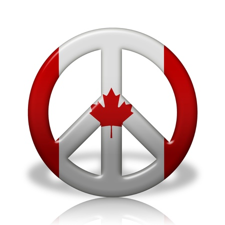 A Peace Sign Symbol In 3d Flag Colors Of Canada Peace In Canada