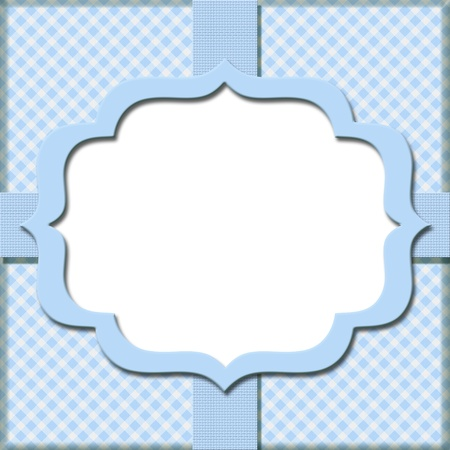 diagonal stripes: Blue Gingham with Ribbon Background for your message or invitation with copy-space in the middle Stock Photo