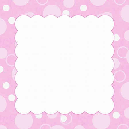 Pink Polka Dot background for your message or invitation with copy-space in middle photo