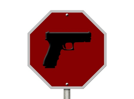 An American road sign and gun isolated on white, Gun Control photo