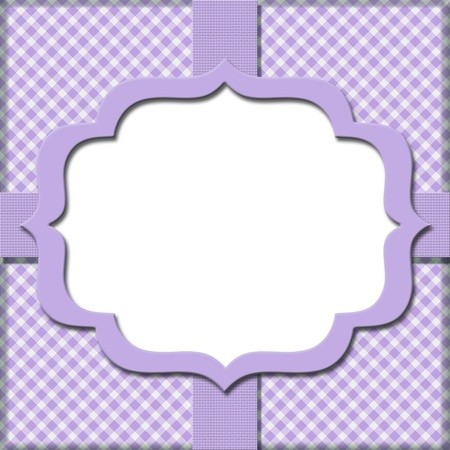Lavender Gingham with Ribbon Background for your message or invitation with copy-space in the middle photo