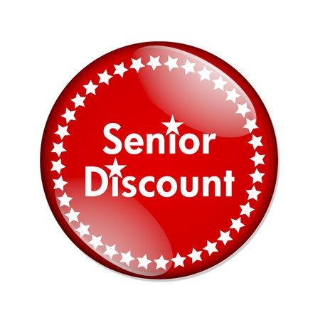 A black and red  button with words Seniors Discount isolated on a white background, Seniors Discount button