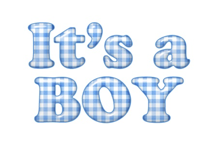 diagonal lines: Words Its a Boy in blue gingham material, Its a boy