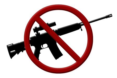 A rifle and a Not Allowed Symbol, Ban on rifles photo