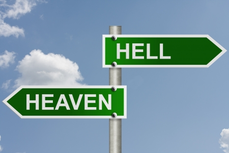 heaven and hell: An American road signs words heaven and hell with sky background, Heaven or Hell Stock Photo