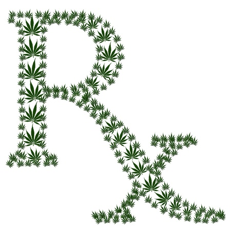 A green prescription shaped symbol made from marijuana leaves isolated on a white background, Marijuana prescription