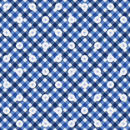 navy blue background: Navy Blue Gingham with Flowers Fabric Background that is seamless and repeats Stock Photo