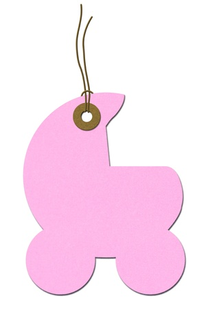 Pink baby carriage gift tag isolated on white, Baby Shower Gift Tag Stock Photo - 17923996
