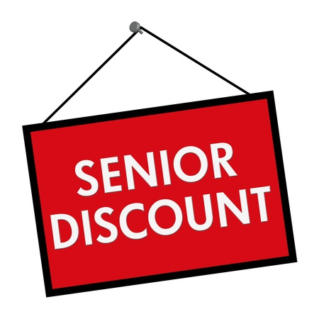A red, white and black sign with the words Senior Discount isolated on a white background