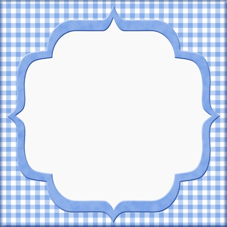 gingham: Blue Gingham Baby Frame for your message or invitation with copy-space in the middle
