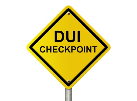 intoxication: An American road warning sign isolated on white with words DUI checkpoint, Stop Drinking and Driving Stock Photo