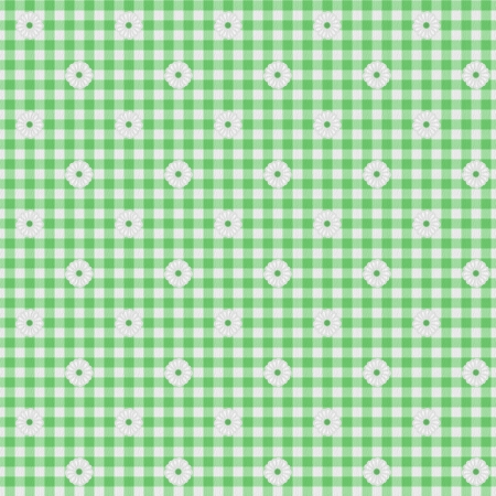 A light green gingham fabric with flowers background that is seamless